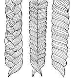 Three braids painted by hand, illustration stock illustration