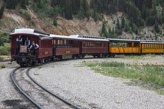 Three Brakemen on Durango and Silverton Narrow Gauge Railroad Steam Engine Train, Silverton, Colorado, USA Stock Images