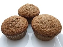Three bran muffins Royalty Free Stock Photos