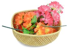 Three branches of artificial flowers Stock Images