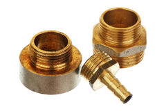 Three brass fittings Stock Photography