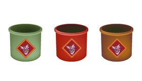 Three Brass Joss Stick Pots on White Background Stock Photography