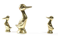 Three Brass Mother and Duckling Ducks Royalty Free Stock Photography