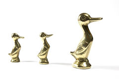 Three Brass Mother and Duckling Ducks Royalty Free Stock Photos