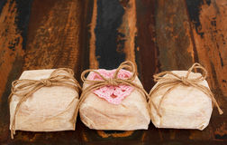 Three Brazilian wedding sweets bem casado with crochet pink hear Royalty Free Stock Photo