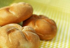 Three bread rolls. Small buns made of white flour in a heap Stock Photography