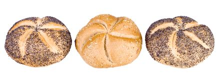 Three breadrolls Royalty Free Stock Images