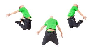 Three breakdancers showing their skills Stock Photography