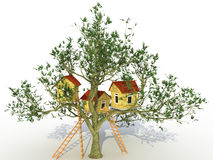 Three brick house on a tree №2 Stock Photo