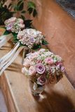 Three bridal bouquets. In a row in pastell colors royalty free stock images