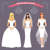 Three bride in long Wedding dress.Flat fashion set. Lovely  bride female  in wedding dress set.Three different lovely girls .Bridal shower design template for Royalty Free Stock Photography