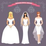 Three bride in long Wedding dress.Flat fashion set Royalty Free Stock Photography