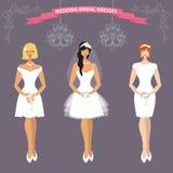 Three bride in short Wedding dress.Flat fashion Royalty Free Stock Photo