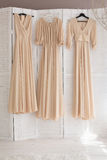 Three bridesmaids' dresses Royalty Free Stock Photography