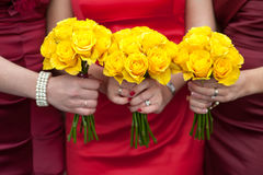 Yellow rose wedding bouquets Stock Photo
