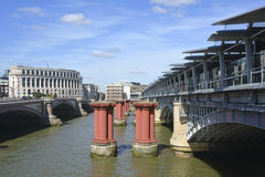 Three bridge structures at Blackfriars London Royalty Free Stock Image