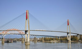Three bridges across Fraser River Royalty Free Stock Photo