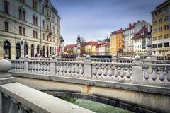 Three bridges in Ljubljana Stock Photo