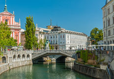 Three bridges, Ljubljana, Slovenia Royalty Free Stock Photography