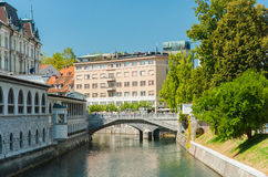 Three bridges, Ljubljana Slovenia Stock Photo