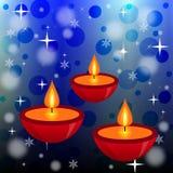 Three bright beautiful candlesticks on an abstract background. Illustration Stock Illustration