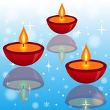 Three bright beautiful candlesticks on an abstract background. Illustration Royalty Free Illustration