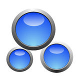 Three bright blue buttons. On a white background Royalty Free Stock Images