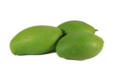 Three Bright Color Green Young Mango on White Background stock photos