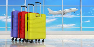 Three bright colors suitcases on airport terminal background. 3d illustration stock illustration
