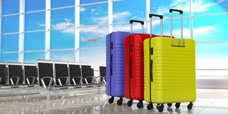 Three bright colors suitcases on airport terminal background. 3d illustration royalty free illustration