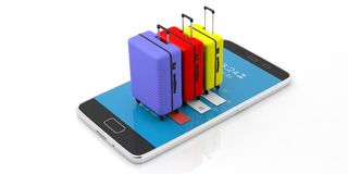 Three bright colors suitcases on a mobile phone, isolated on white background. 3d illustration vector illustration