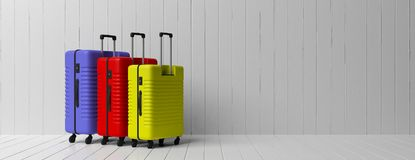 Three bright colors and various sizes suitcases isolated on white wooden floor and wall background, banner, copy space. 3d illustr stock illustration