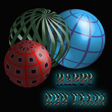 Three Bright 3D Balls. Balls, three-dimensional Shape, Christmas, New Year, Decoration, Text Royalty Free Stock Images