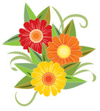 Three bright flower. Vector illustration Stock Photo