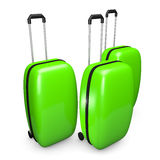 Three bright green suitcase on wheels with handle Stock Photos