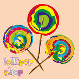 Three bright lollipop. Abstract watercolor style modernist sweetness on a stick colored drawing large size text vector illustration eps10 Stock Stock Photography