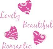 Three bright purple hearts. Illustration Stock Photos