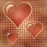 Three of bright red hearts Royalty Free Stock Images