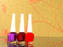 Three bright vial of nail polish Royalty Free Stock Photo