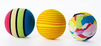 Three Brightly Coloured Foam Balls. Stock Photos