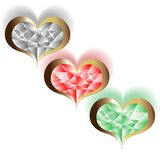 Three brilliant vector hearts Stock Images