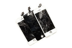 Three broken displays of cell phone Stock Images