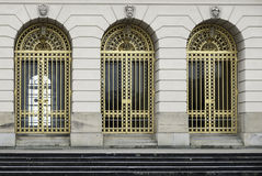Three Bronze Palace Doors in Symmetry Royalty Free Stock Photos