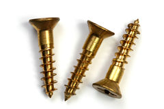 Three bronze screws Royalty Free Stock Photos