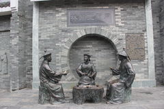 Three bronze statues of officials in the Qing Dynasty Royalty Free Stock Images
