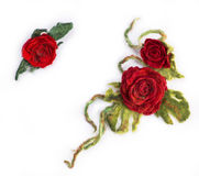 Three brooches from felted wool Stock Photography