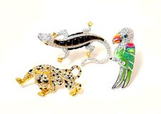 Three brooches in the manner of animal Royalty Free Stock Images