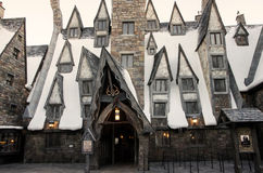 The Three Broomsticks in Harry Potter World, Orlando. The front door of the restaurant The Three Broomsticks in Hogsmead in Harry Potter World in Orlando Royalty Free Stock Image