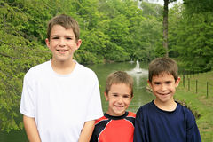 Three Brothers. Three  Boys at the Park Stock Images