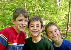 Three Brothers. Playing Outside in the Woods Stock Image